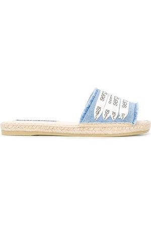 Sergio Rossi Frayed logo slip-on sandals