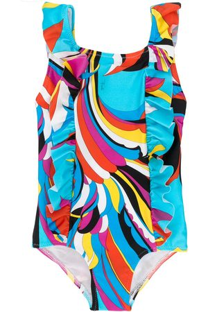 Emilio Pucci Ruffled abstract-print swimsuit