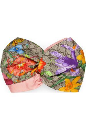 Gucci Damen Haarschmuck - Haarband aus Seide mit GG Blumen-Print