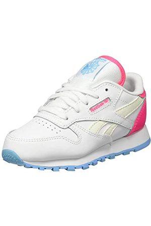 Reebok Reebok Unisex Baby Classic Leather Gymnastics Shoe, White/Neon Blue/Solar Pink