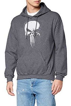 Marvel Marvel Herren Knights Paintspray Skull, Grau (Dark Heather Grey Dkhgry) XL-Kapuzenpullover