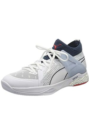 Puma Puma Unisex-Erwachsene Explode Eh 1 Botas de fútbol, Weiß White-Dark Denim-High Risk Red-Glacier Gray