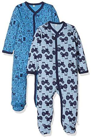 Pippi Pippi 2er Pack Baby Jungen Schlafstrampler mit Aufdruck, Langarm mit Füßen, Alter 0-1 Monate, Größe: 50, Farbe: Blau