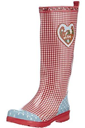 Playshoes Playshoes Damen Gummistiefel, trendiger Regenstiefel aus Naturkautschuk, mit herausnehmbarer Innensohle, mit Landhaus-Motiv ,Rot (rot 8)