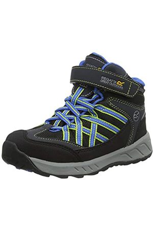Regatta Regatta Unisex-Kinder Samaris V Mid' Waterproof Breathable Hoop & Loop Fastening Lightweight Hiking Boots Walking-Schuh, Briar/Fluro Blue