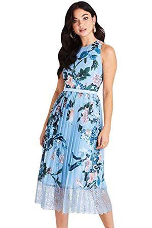 Little Mistress Damen Rori Blue Floral Midi Dress with Lace cocktailkleid