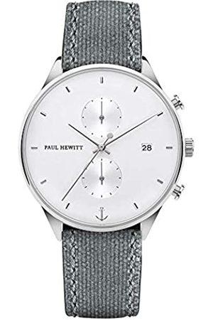 Paul Hewitt PAUL HEWITT Chronograph Herren Chrono Line- Herren Chronograph Edelstahl (Silber), Armbanduhr Männer mit Stoppuhr und Canvas-Armband (Grau)
