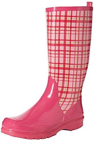 Playshoes Damen Gummistiefel, trendiger Regenstiefel aus Naturkautschuk, mit herausnehmbarer Innensohle, mit Karo-Muster, Pink (Rose 14)