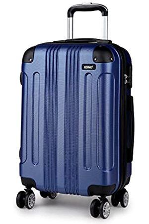 KONO Hartschale Koffer Trolley Leicht ABS 4 Räder Dunkelblau Reisekoffer Taschen Gepäck (L)