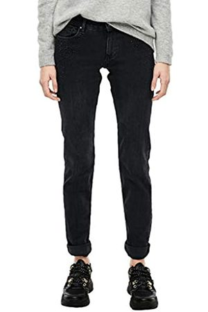 s.Oliver S.Oliver RED LABEL Damen Shape Slim: Jeans mit Glitzersteinchen dark grey 46.30