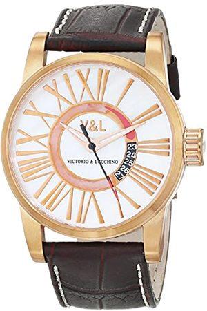 VL92 V&L Herren Datum klassisch Quarz Uhr mit Leder Armband VL068502
