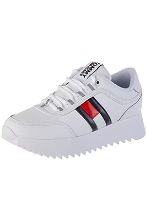 Tommy Hilfiger Tommy Jeans Damen HIGH Cleated Flag Sneaker, Weiß (White Ybs)