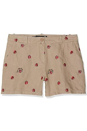 Love Moschino Love Moschino Damen Embroidered Allover Ladybirds_Chambray Shorts, Beige (Beige+Embroider 8002)