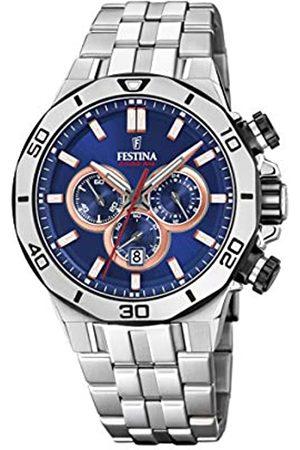 Festina Festina Unisex Erwachsene Chronograph Quarz Uhr mit Edelstahl Armband F20448/1