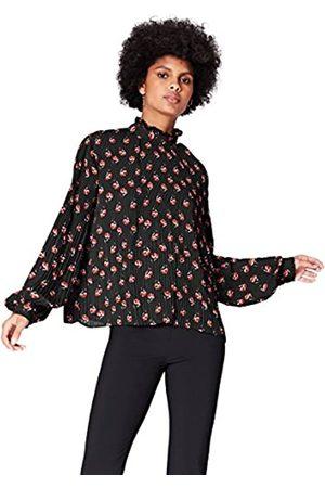 FIND Amazon-Marke: find. Bluse Damen mit Plissee-Falten und Ballonärmeln, 44
