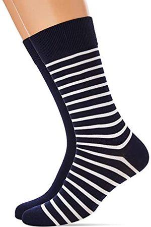 Hom Herren Goelette 2p Klassische Socken, Lot de 2: Marine + rayé marine et blanc