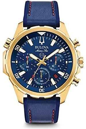 BULOVA Herren Chronograph Quarz Uhr mit Leder Armband 97B168