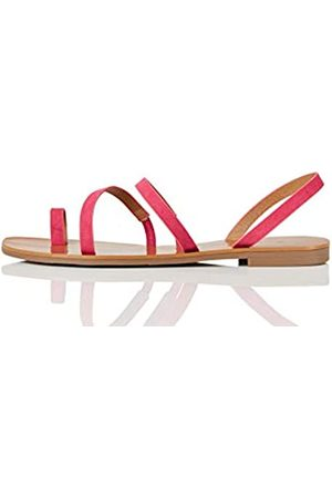 FIND Amazon-Marke: FIND Flat Gladiator Römersandalen, Pink (Hot Pink)