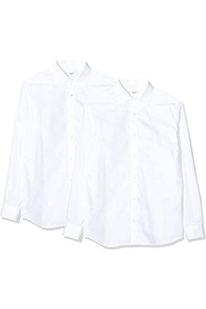 Jack & Jones JACK & JONES Herren JPRBLA Basic LS Shirt 2 Pack KA Businesshemd, Weiß (White Fit: Slim-White White)