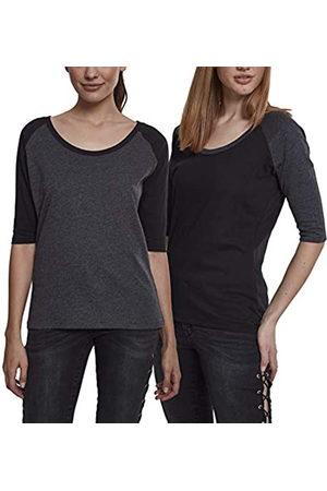 Urban classics Urban Classics Damen Ladies 3/4 Contrast Raglan Tee T-Shirt Mehrfarbig Blk & Blk/Cha (2-Pack) 02154