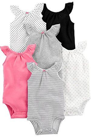 Simple Joys by Carter's Baby-Body, ärmellos, 6 Stück ,Black, White Pink Ruffle
