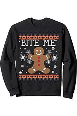 Ugly Christmas Lebkuchen für Frauen Männer Lustige hässliche Weihnachten Lebkuchen Mann Bite Me Sweatshirt