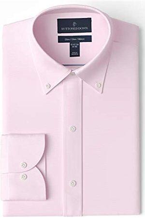 Buttoned Down Buttoned Down Slim Fit Button Collar Solid Non-iron Dress Shirt Smoking Hemd, Light Pink)