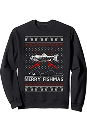 Fischer Hässlicher Weihnachtspullover & Co. Merry Fishmas Lustig Xmas Geschenk für Papa Angeln Liebhaber Sweatshirt