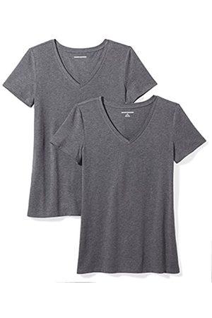 Amazon Amazon Essentials Damen-T-Shirt, klassisch, kurzärmlig, V-Ausschnitt, 2er-Pack