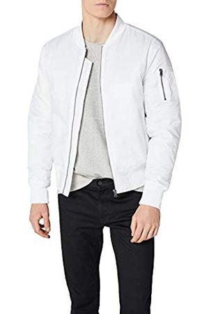 Urban classics TB861 Herren Jacke - Basic Bomber Jacket, Bomberjacke mit aufgesetzter Tasche und Zipper am Arm, Weiß (white 220)