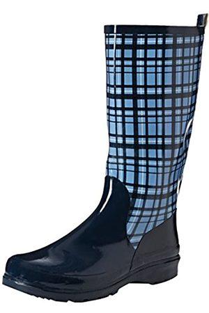 Playshoes Playshoes Damen Gummistiefel, trendiger Regenstiefel aus Naturkautschuk, mit herausnehmbarer Innensohle, mit Karo-Muster, Blau (Blau 7)