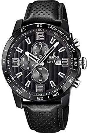 Festina Herren Chronograph Quarz Uhr mit Leder Armband F20339/6