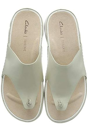 Clarks Damen Tri Toe PostZehentrenner, (White Leather White Leather)