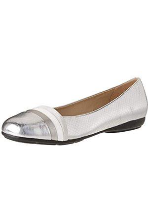 Geox Geox Damen D Annytah a Geschlossene Ballerinas, Silber (Silver/White C0434)