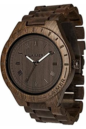 Laimer LAiMER Herren-Armbanduhr BLACK EDITION Mod. 0018 aus Sandelholz - Analoge Quarzuhr mit braunem Holzarmband