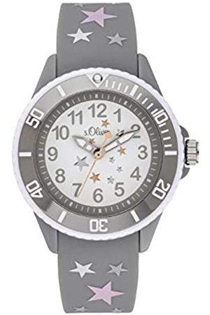 s.Oliver S.Oliver Mädchen Analog Quarz Uhr mit Silikon Armband SO-3925-PQ