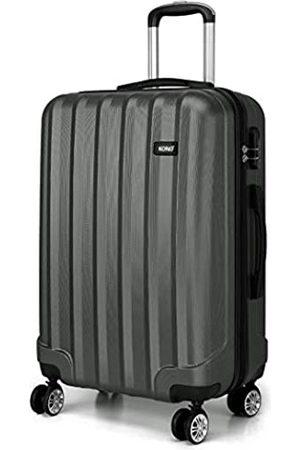 Kono Kono Zwillingsrollen Hartschale ABS Koffer Trolley Reisekoffer Rollkoffer Handgepäck (Grau