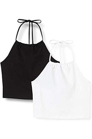 Urban classics Damen Oberteil Ladies Cropped Neckholder Top 2-Pack T-Shirt