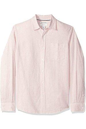 Amazon Amazon Essentials Herren-Leinenshirt, Langarm-Shirt, schmale Passform, gestreift