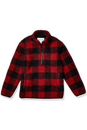 Amazon Amazon Essentials Quarter-Zip High-Pile Polar Fleece outerwear-jackets, Exploded Red Buffalo Check