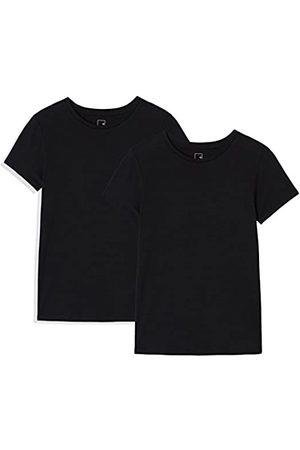 MERAKI Damen Shirts - Amazon-Marke: AP003 Damen T-shirt, 2er Pack, Mehrfarbig (Black Beauty/Black Beauty), 36