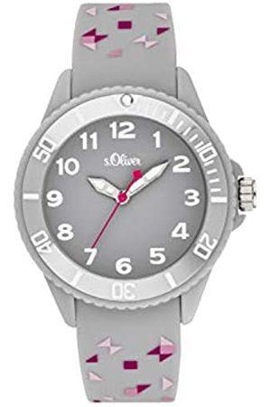 s.Oliver S.Oliver Mädchen Analog Quarz Uhr mit Silikon Armband SO-3922-PQ