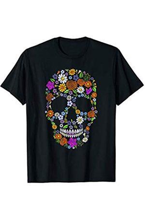 60er 70er Jahre Flower Skull Shirt Kostüm 60er 70er Jahre Flower Power Totenkopf Shirt Kostüm