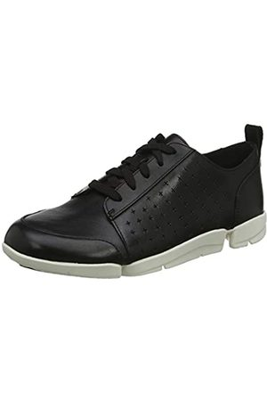 Clarks Damen TriAmelia Edge Sneaker, (Black Leather Black Leather)