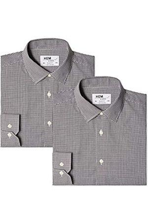 Hem & Seam Amazon-Marke: find. Herren Formales kariertes Slim Fit-Hemd, 2er Pack, 38 cm