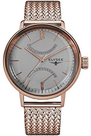 ELYSEE Elysee Sithon Herrenuhr in verschiedenen Farbkombinationen mit Leder- oder Milanaise Armband Datumanzeige (schwarz/Silber/weiß) (rosé)