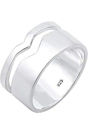 Elli Elli Ring Damen Bandring Geo Cut-Out Basic Trend in 925 Sterling