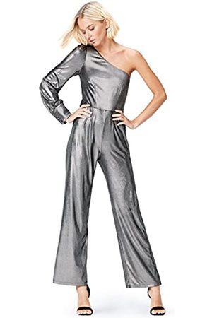 FIND Amazon-Marke: Jumpsuit Damen Metallic-Look und One-Shoulder-Design, 36