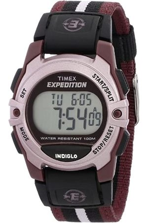 Timex Timex Unisex T49659 Expedition Mid-Size Digital CAT Plum Stripe Nylon Strap Watch