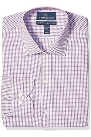 Buttoned Down Buttoned Down Xtra-Slim Fit Pattern Non-Iron dress-shirts, Berry/Red/Navy Tattersall Micro Check
